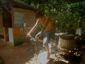 On With Life's James using the Bike Washer